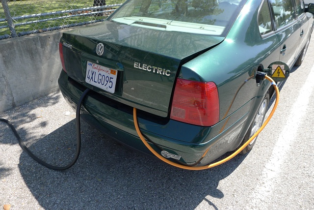 the electric passat i made a bracket for my trunk lid see above pic it allows me to lock up my charging cables so they can t be stolen or unplugged it also helps let some